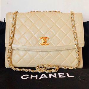 CHANEL 24k Gold Lambskin Diamond Stitch Flap Bag